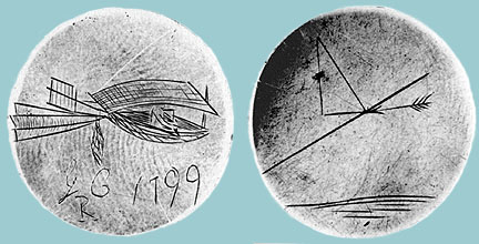 Cayley's Silver Disc with Engravings on Both Sides. Left: the first conceptual imaging ever of the airplane. Right: first understanding of the scientific principles of flight Source: Science Museum of London