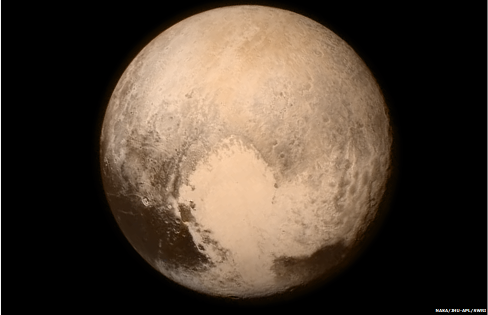 Final colour image before New H Horizons went silent for the flyby, 12472 km from Pluto  Credit: NASA