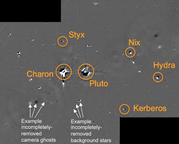 The full set. Pluto and its moons. A composite photo.  Credit: NASA