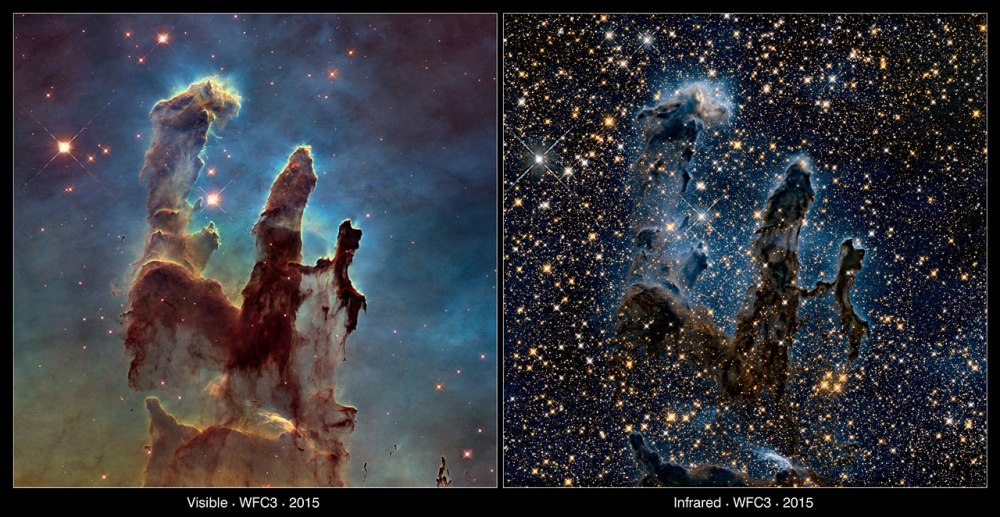 The Pillars of Creation — visible and infrared comparison