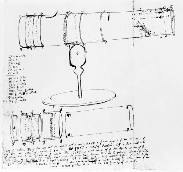 Newton's telescope, historical artwork